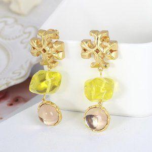 18K Tory Burch Roxanne Yellow Drop Resin Earrings